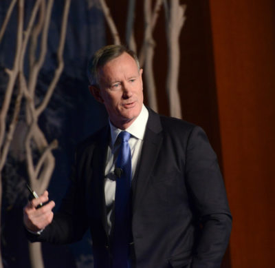 William H. McRaven addressing the full assembly